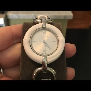 Gucci Accessories - GUCCI WHITE BAMBOO & STAINLESS STEEL WATCH